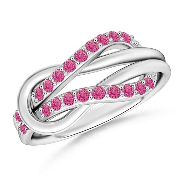 Encrusted Pink Sapphire Infinity Love Knot Ring - Angara.com