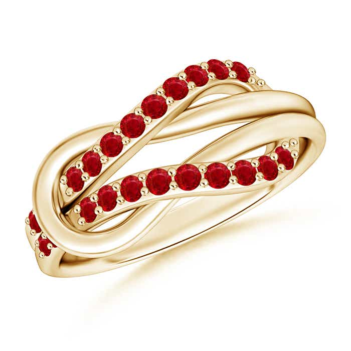 Encrusted Ruby Infinity Love Knot Ring - Angara.com