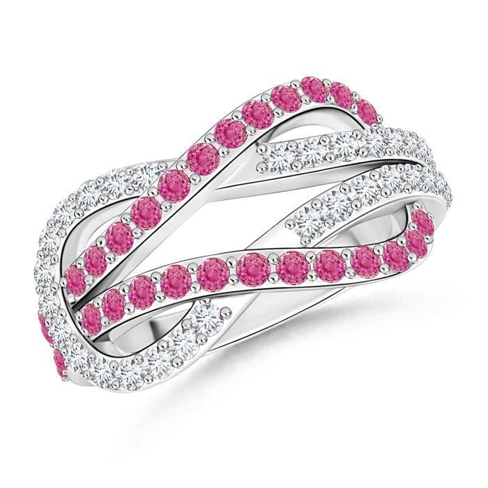 Encrusted Pink Sapphire and Diamond Infinity Knot Ring - Angara.com