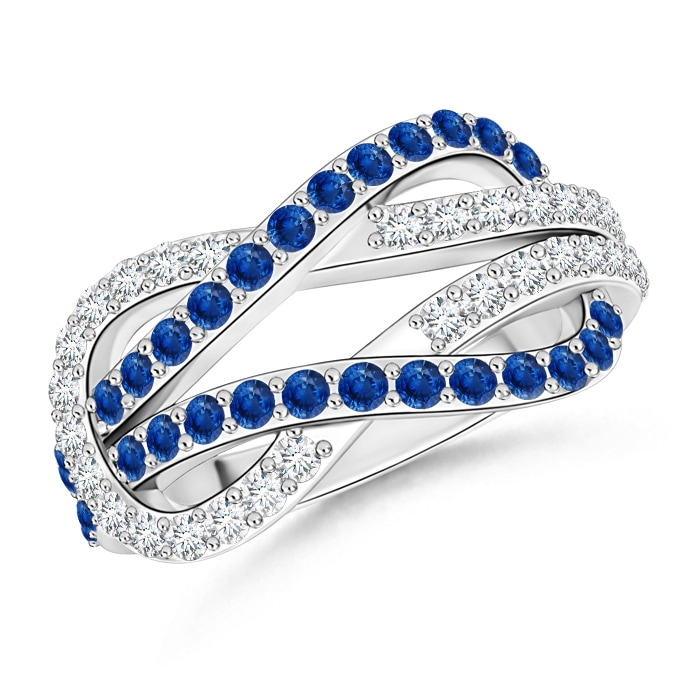 Encrusted Blue Sapphire and Diamond Infinity Knot Ring - Angara.com