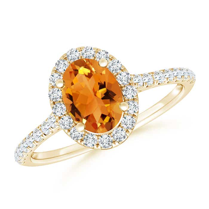 Angara Prong Set Oval Citrine Halo Ring in 14K Yellow Gold yGBWeu3S