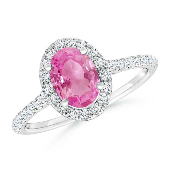 Angara Diamond Natural Pink Tourmaline Three Stone Ring in Rose Gold H6744Gt