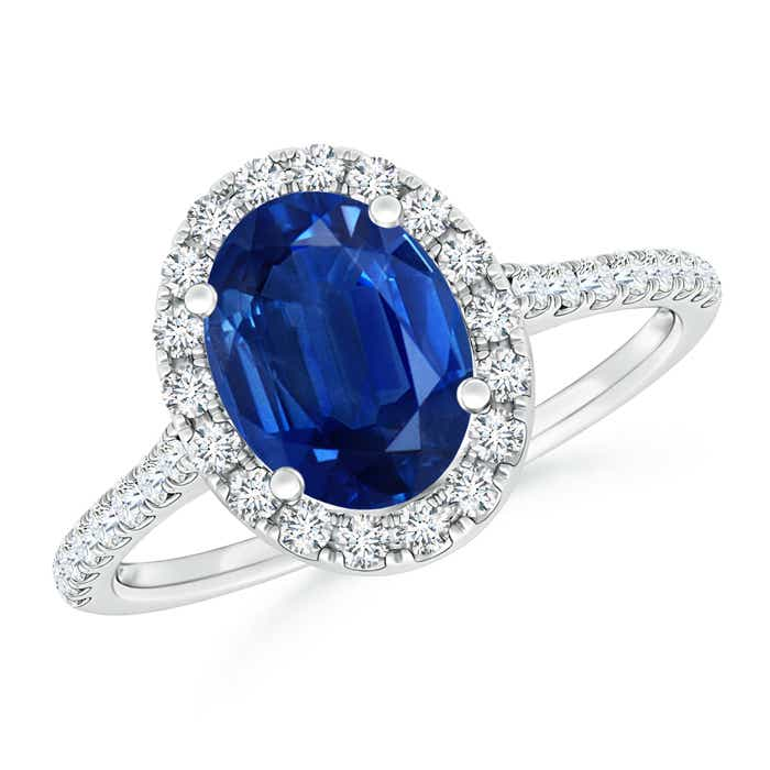 Oval Sapphire Halo Ring with Diamond Accents | Angara