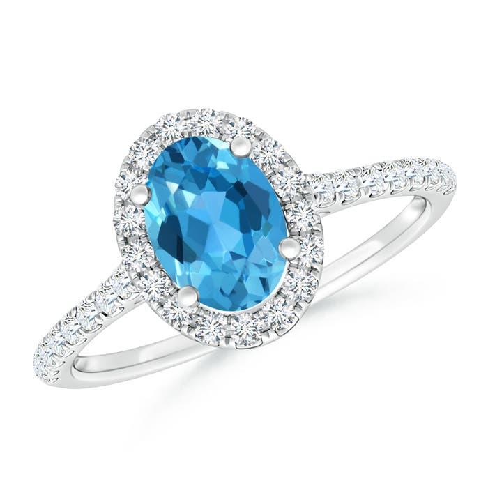 Oval Swiss Blue Topaz Halo Ring with Diamond Accents - Angara.com