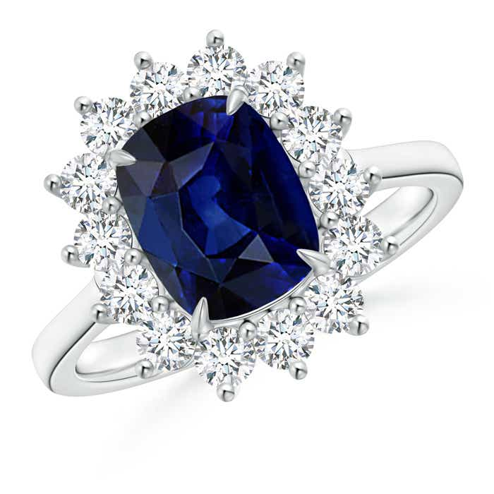 Cushion Sapphire and Diamond Floral Ring with Claw Set - Angara.com