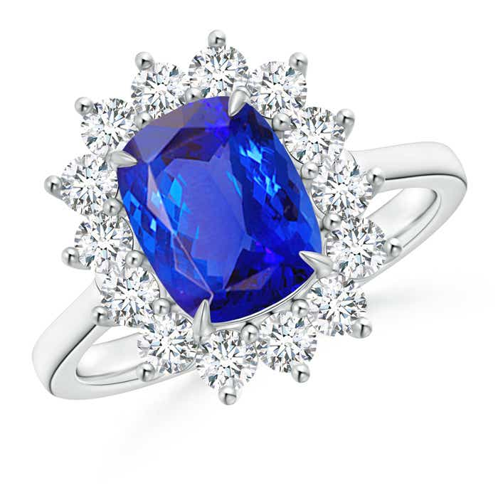 Cushion Tanzanite and Diamond Floral Ring with Claw Set - Angara.com