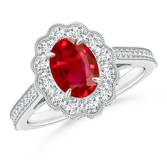Antique Oval Ruby Flower Ring with Diamond Accents  - Angara.com