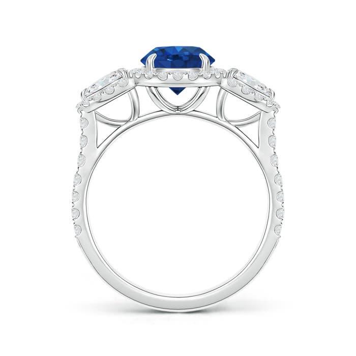 Vintage Style Three Stone Sapphire and Diamond Ring - Angara.com