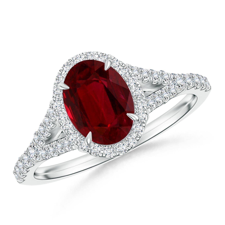 Ruby and Diamond Halo Split Shank Ring (GIA Certified Ruby) - Angara.com