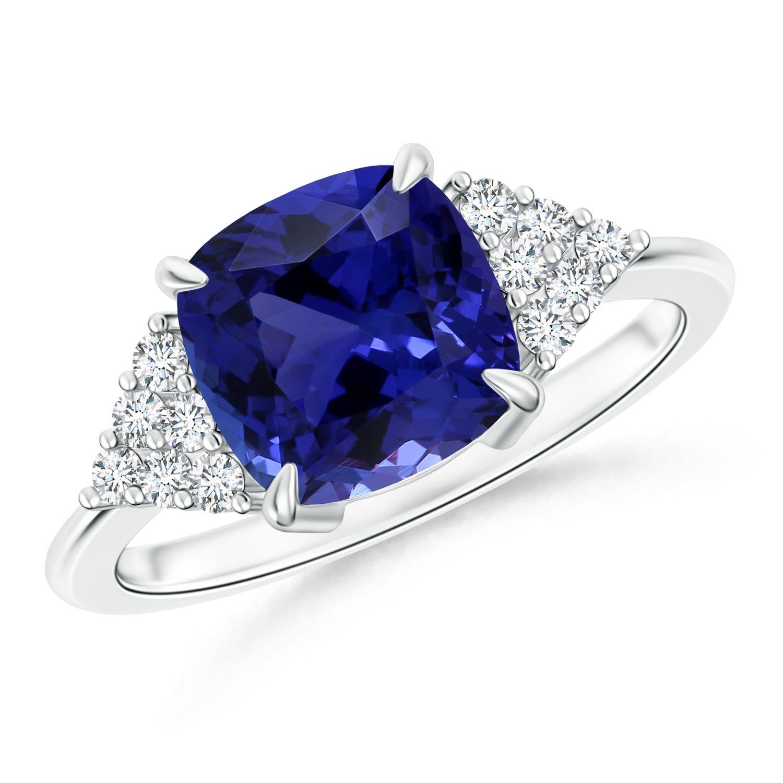 Cushion Tanzanite Ring with Diamond (GIA Certified Tanzanite) - Angara.com