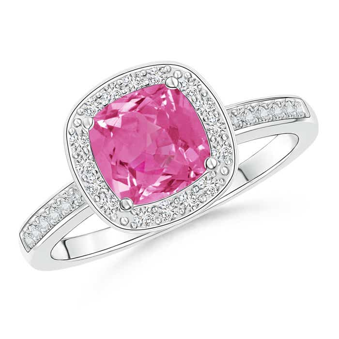 Cushion-Cut Pink Sapphire Engagement Ring with Diamond Accents - Angara.com