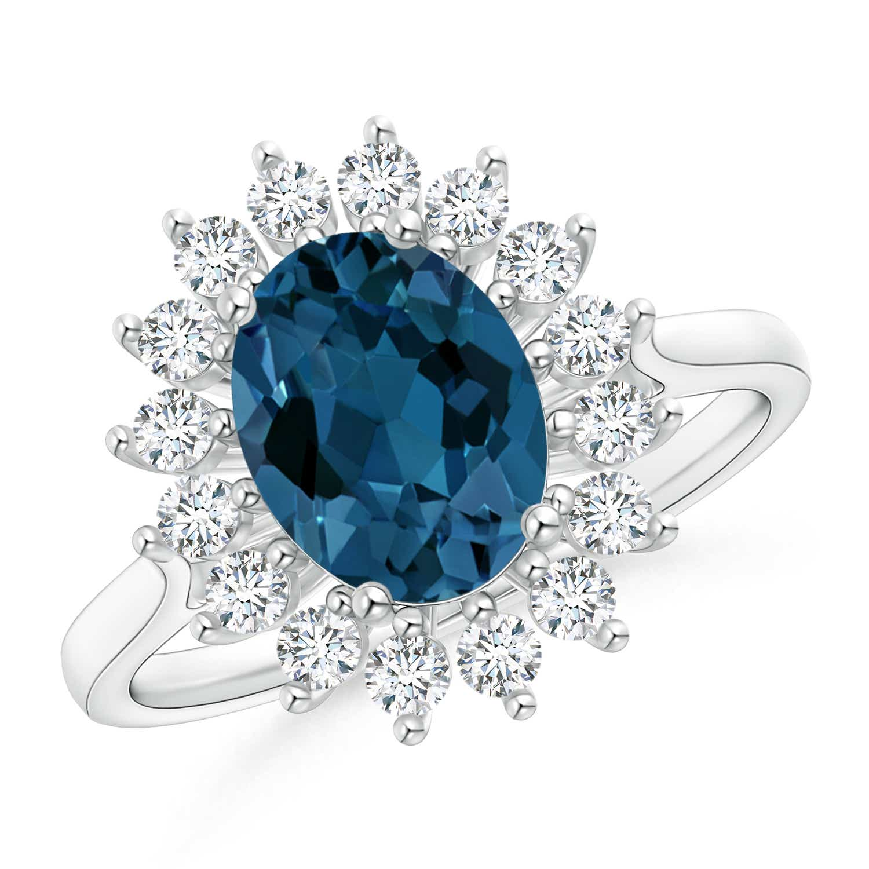 Oval London Blue Topaz and Diamond Floral Halo Ring - Angara.com