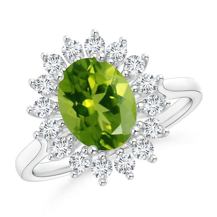 Oval Flower Peridot and Diamond Halo Ring - Angara.com