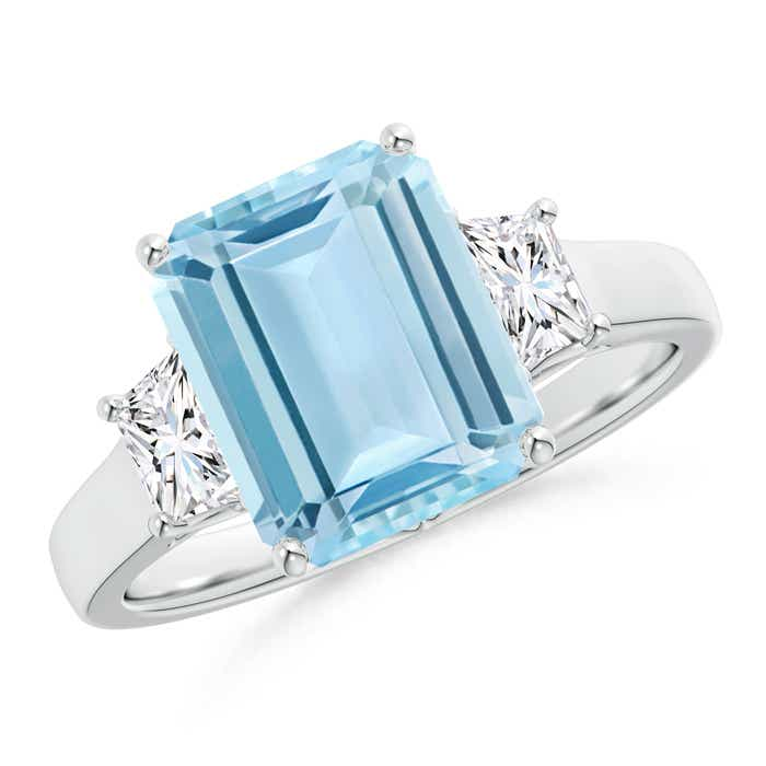 Angara Three Stone Emerald Wedding Ring in Platinum wcZ6HNz0