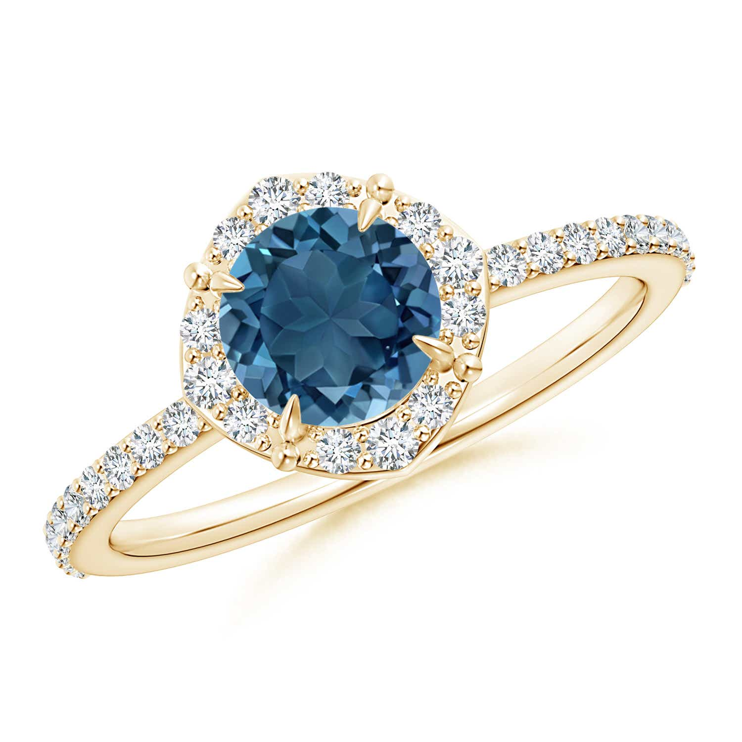 Angara Natural London Blue Topaz Gemstone Engagement Rings in Yellow Gold c3Ni9