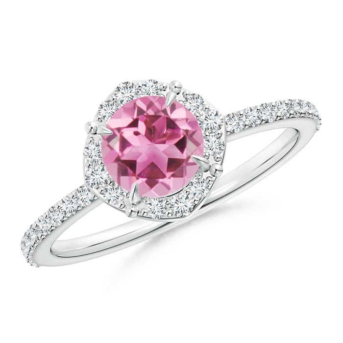 Claw-Set Vintage Diamond Halo Round Pink Tourmaline Ring - Angara.com
