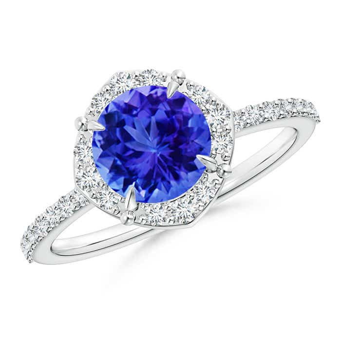 Angara Claw Tanzanite and Diamond Halo Ring in Yellow Gold zN9XV