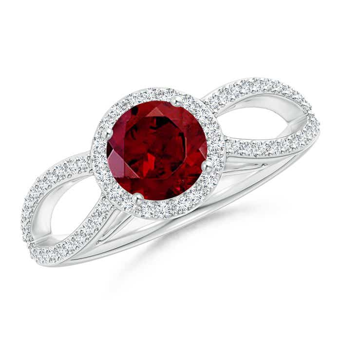 Angara Floating Garnet and Diamond Halo Antique Style Ring in Yellow Gold DEZUZl