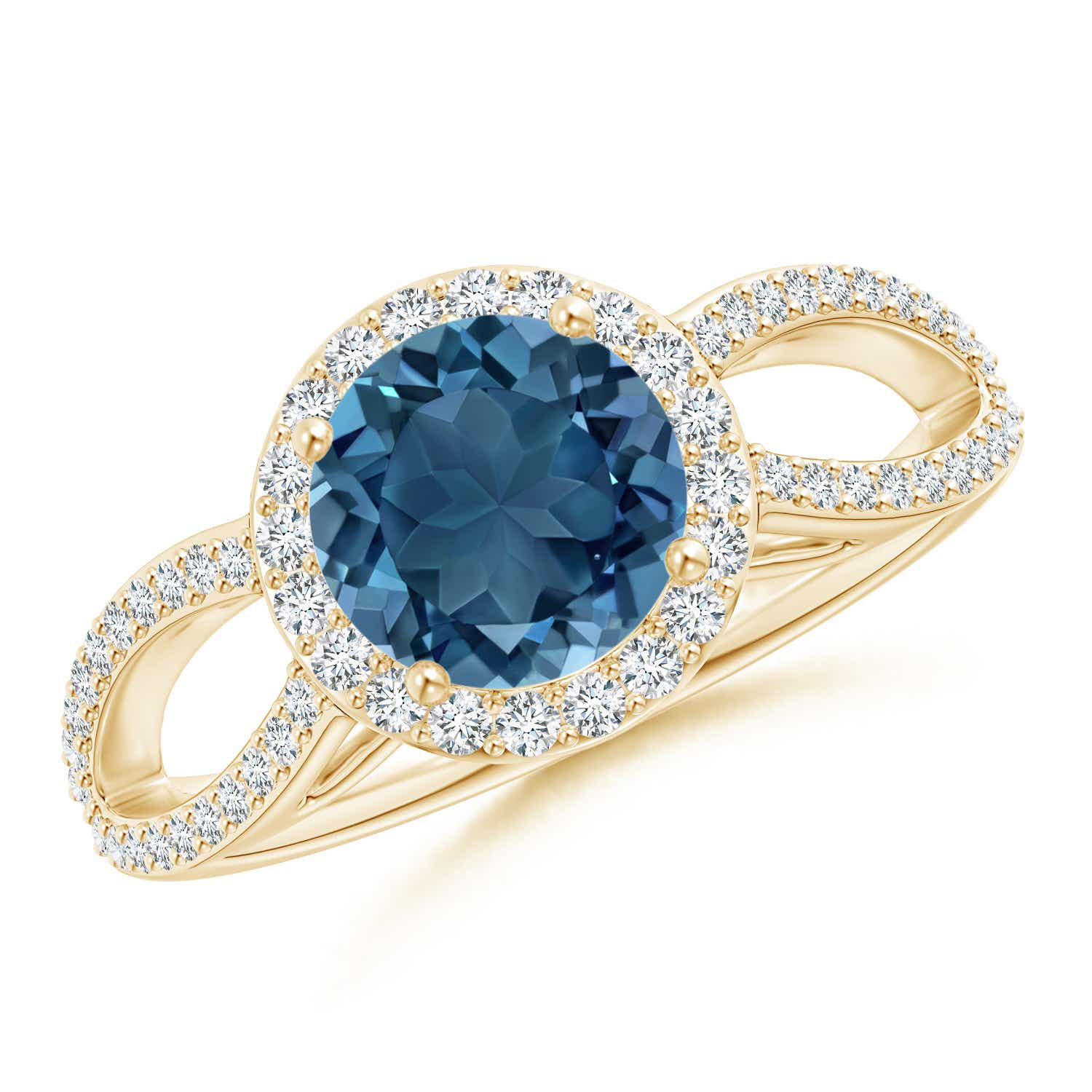 Angara London Blue Topaz Ring with Diamond Halo in Yellow Gold