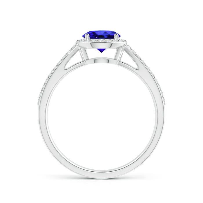 Vintage Split Shank Tanzanite Ring with Diamond Halo - Angara.com