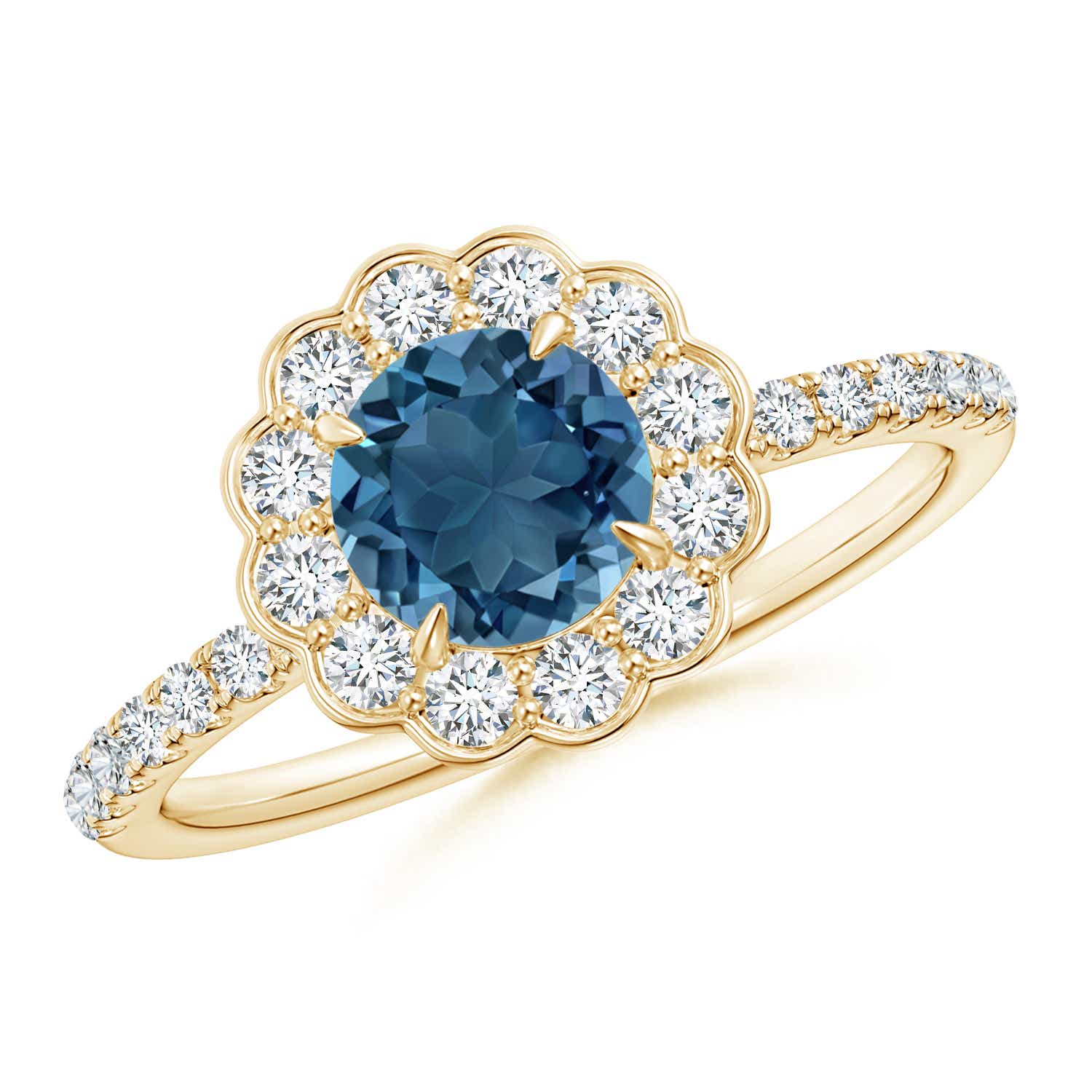 Angara Vintage Style London Blue Topaz Flower Ring with Diamonds jVRXzAm79