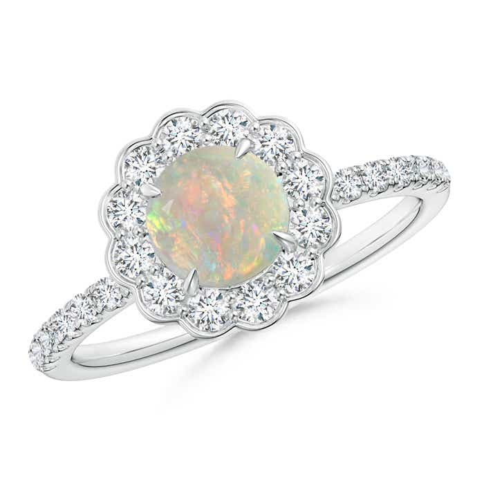 Vintage Opal Flower Ring with Diamond Accents - Angara.com