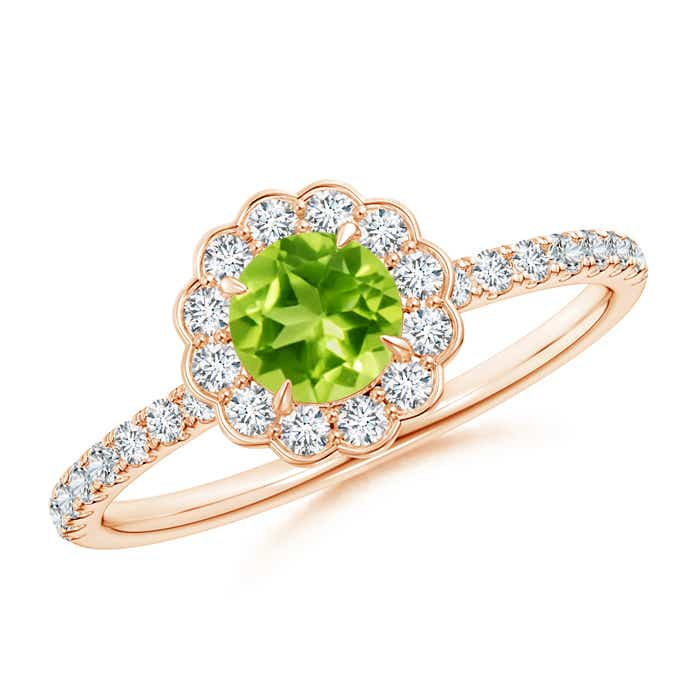 Christmas-Sale-Vintage-Style-Natural-Peridot-Diamond-Flower-Ring-Gold-Size-3-13