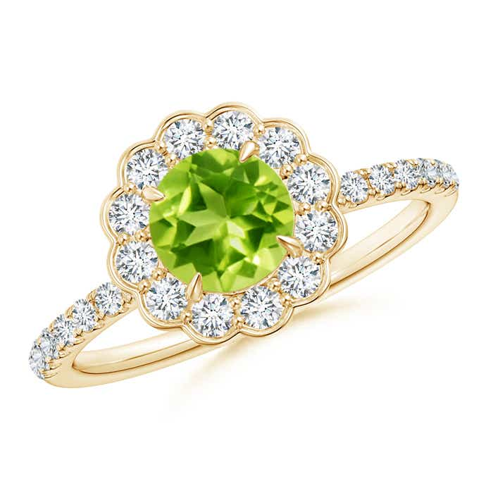 vintage peridot flower ring with diamond accents angara