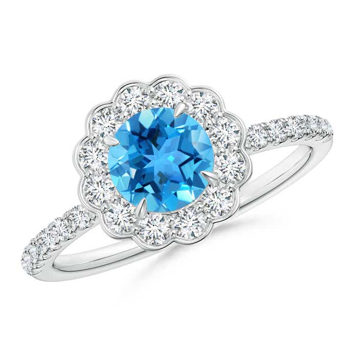 Vintage Swiss Blue Topaz Flower Ring with Diamond Accents - Angara.com