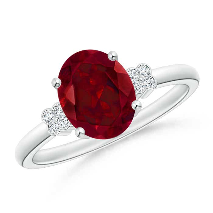 Angara Vintage Oval Solitaire Garnet Ring with Diamond Accents ZyuGmL