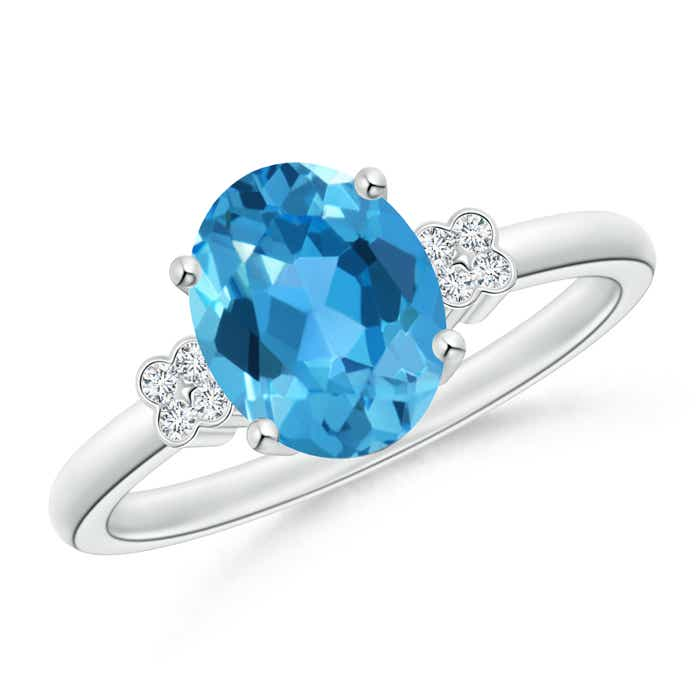 Solitaire Oval Swiss Blue Topaz Ring with Diamond Floral Accent - Angara.com