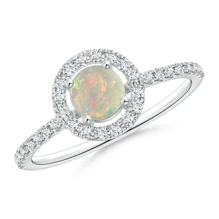 Angara Secured Claw Cabochon Opal and Diamond Halo Ring BHd5L7lay