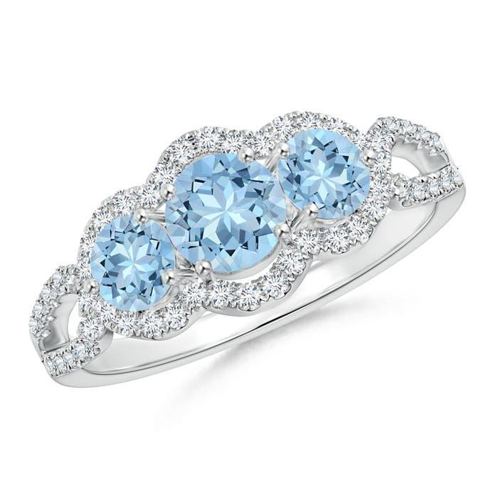 Floating Three Stone Aquamarine Ring with Diamond Halo - Angara.com