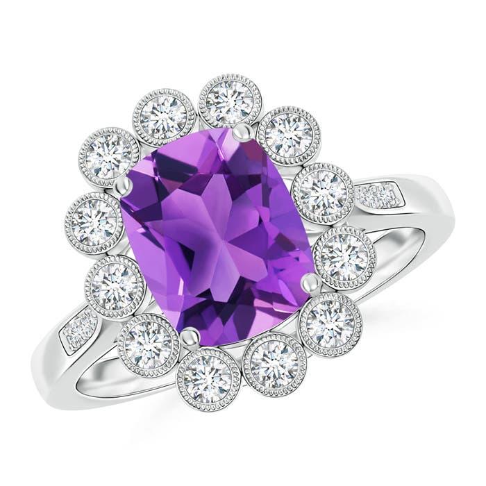 Cushion Cut Amethyst Ring with Diamond Floral Halo - Angara.com