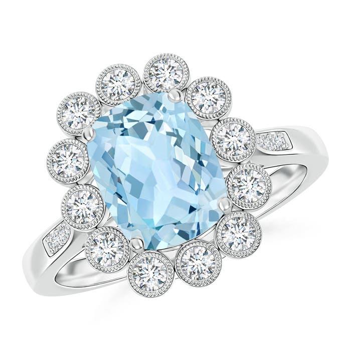 Cushion Cut Aquamarine Ring with Diamond Floral Halo - Angara.com
