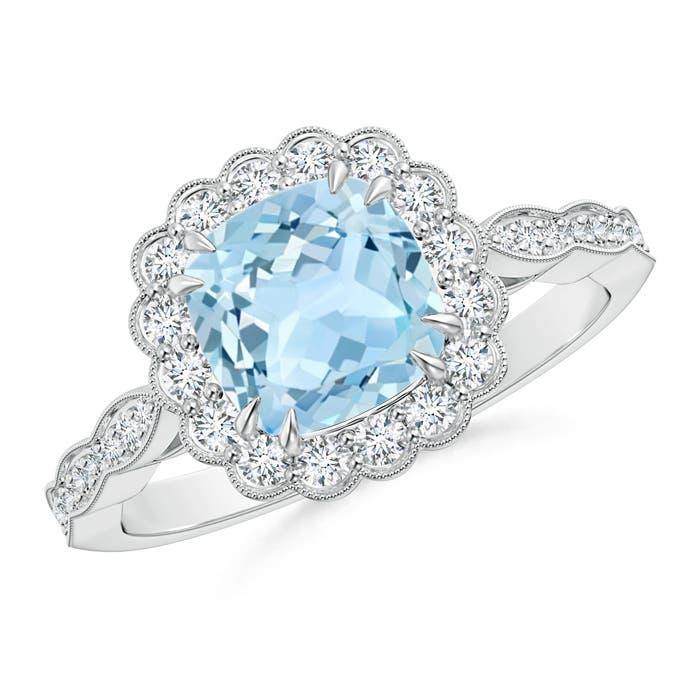 Cushion Aquamarine and Diamond Halo Ring with Accents - Angara.com