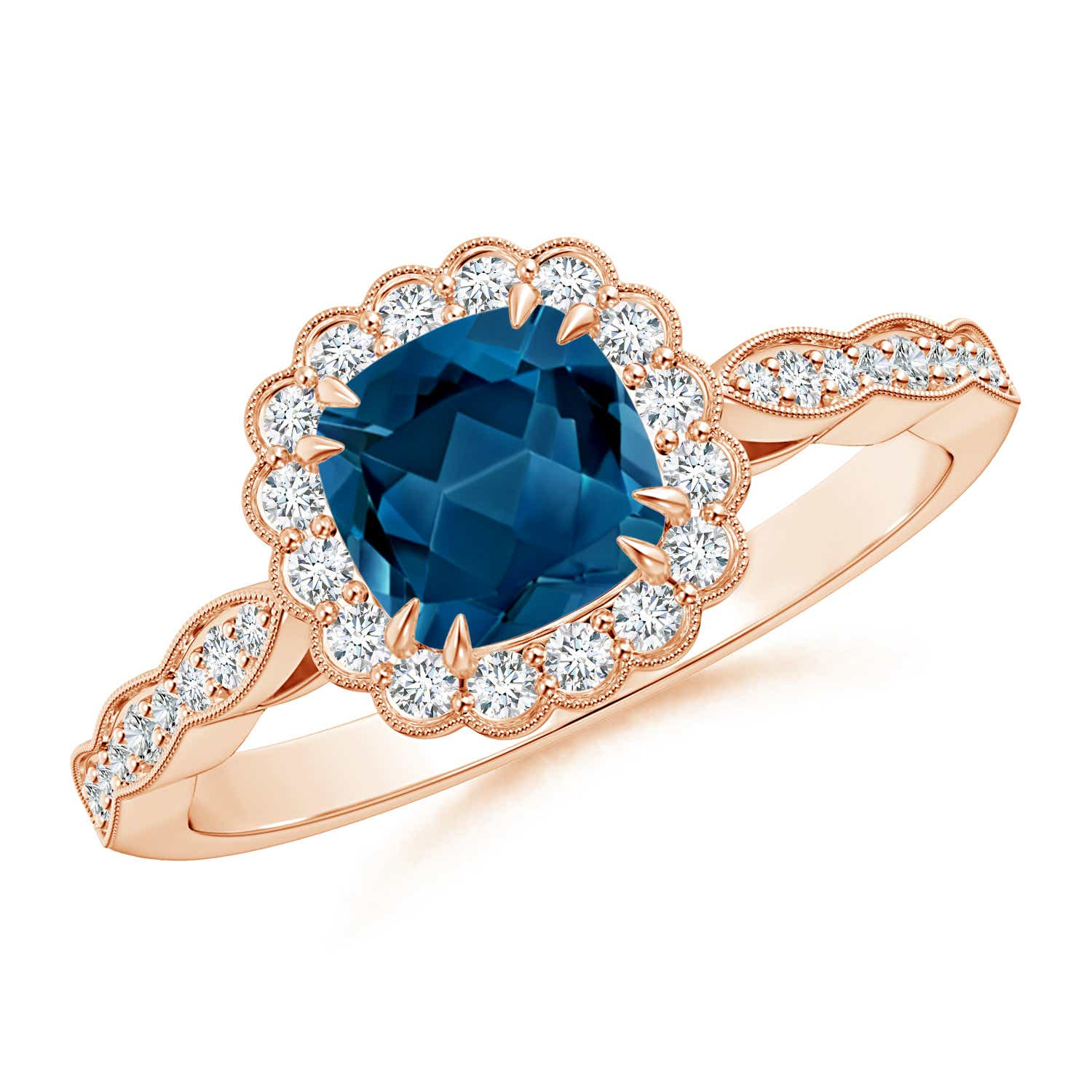 Cushion London Blue Topaz Ring with Floral Halo - Angara.com