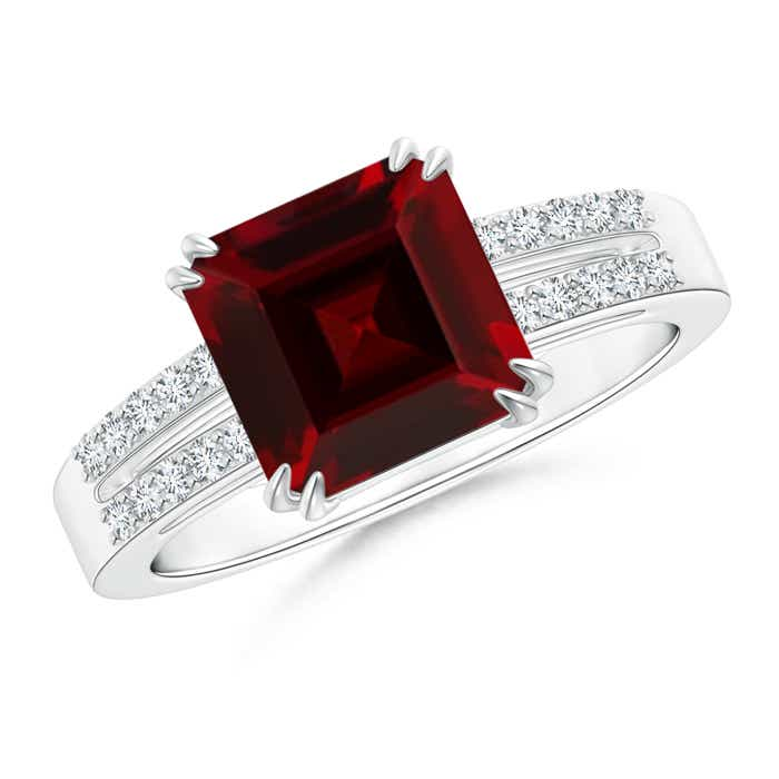Claw Set Emerald Cut Garnet Ring with Diamond Accents - Angara.com