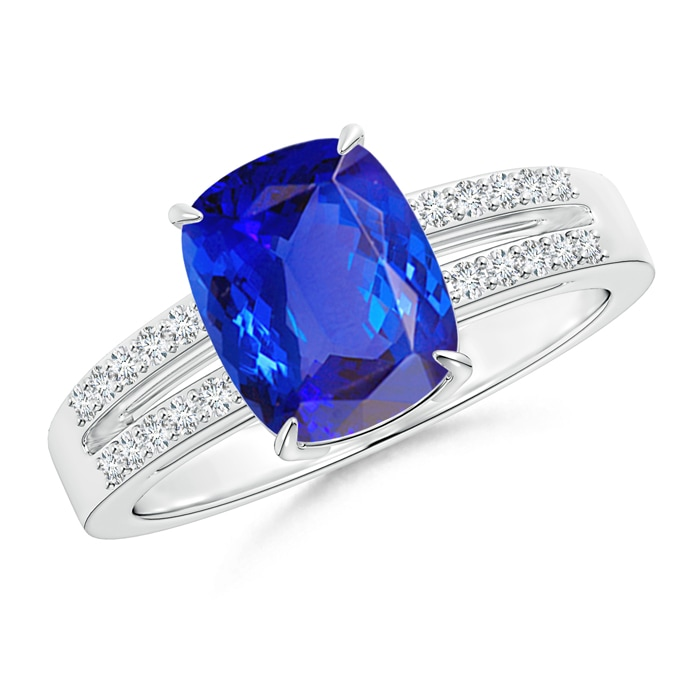 Cushion Cut Tanzanite Split Shank Ring with Diamond Accents - Angara.com