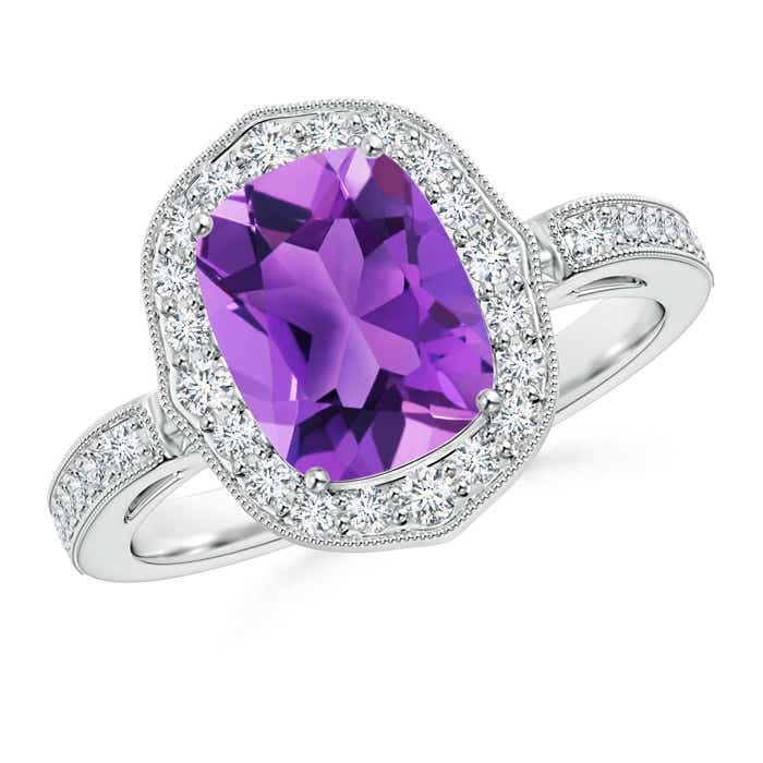 Cushion Cut Amethyst Halo Ring with Diamond Accents - Angara.com