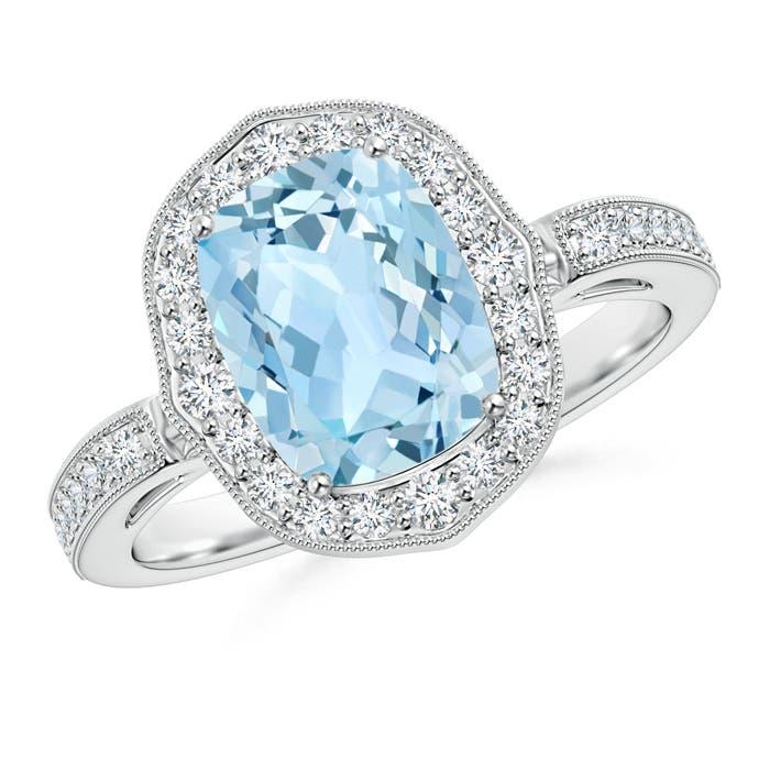 Cushion Cut Aquamarine Halo Ring with Diamond Accents - Angara.com