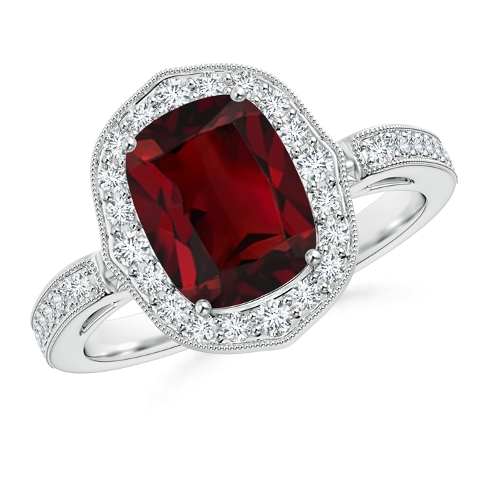 Cushion Cut Garnet Halo Ring with Diamond Accents - Angara.com