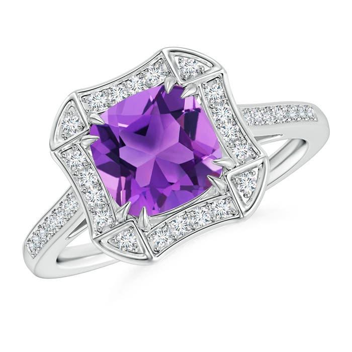 Art Deco Cushion Cut Amethyst Ring with Diamond Accents - Angara.com