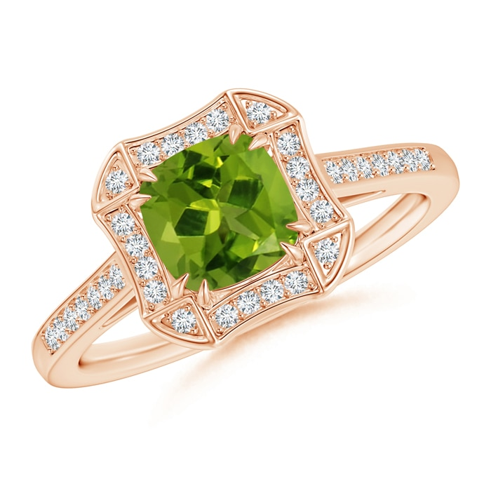 Art Deco Cushion Cut Peridot Ring with Diamond Accents