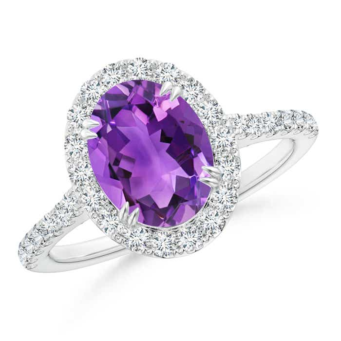 Angara Sugarloaf Cabochon Amethyst Ring with Diamond Halo GWNcRL