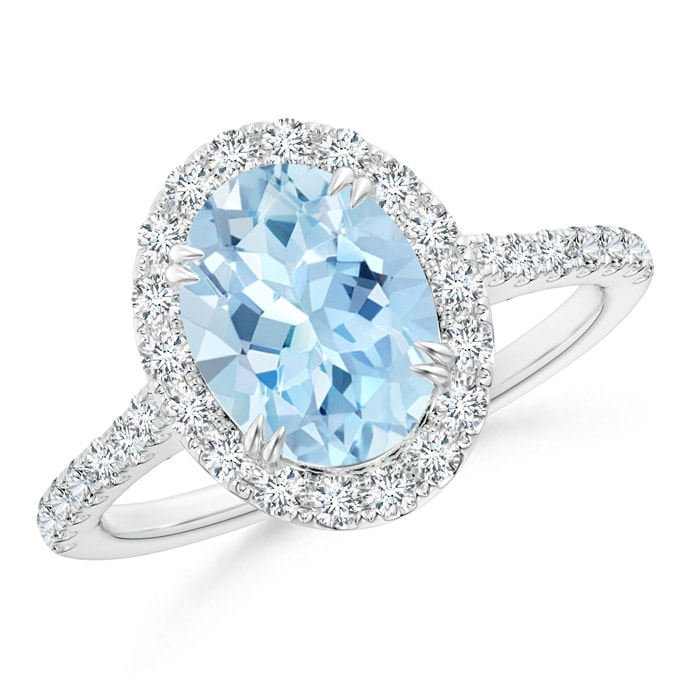 Double Claw Oval Aquamarine Halo Ring with Diamond Accents - Angara.com