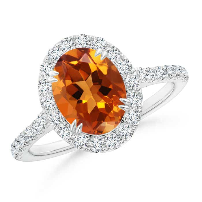 Double Claw Oval Citrine Halo Ring with Diamond Accents - Angara.com