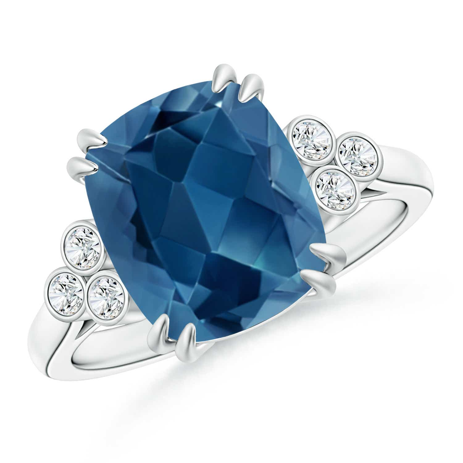 Angara Solitaire Cushion London Blue Topaz Ring in Platinum V68blSnP