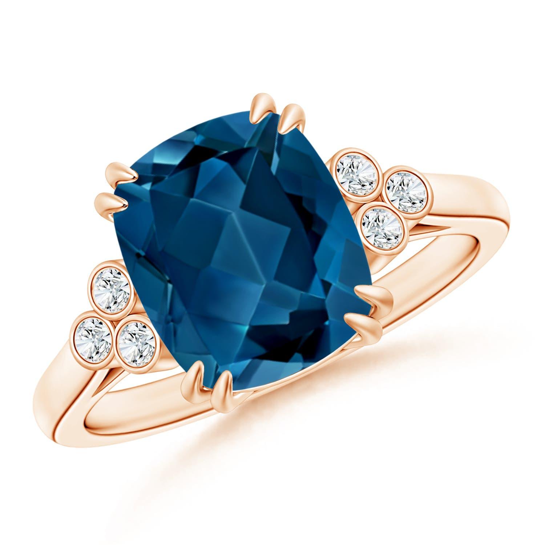 Solitaire Cushion London Blue Topaz Ring with Trio Diamonds - Angara.com