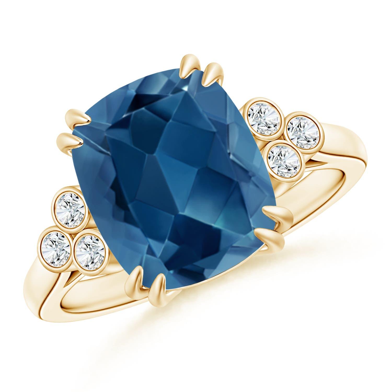 Angara Cushion London Blue Topaz Ring in White Gold FdBKZtd